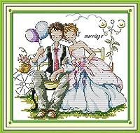クロスステッチ大人、初心者11ctプレプリントパターン新婚夫婦40x50cm -DIYスタンプ済み刺繍ツールキットホームの装飾手芸い贈り物40x50cm(フレームがない )