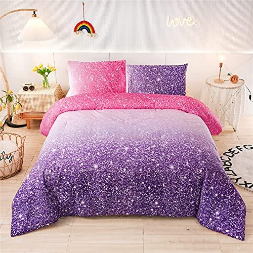 Holawakaka Kids Space Star Glitter Comforter Set Ombre Red & Purple Print Gradient Bedding Set Twin Size (red Purple, Twin)……