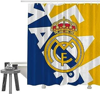 UUKELLY Real Madrid Club de Fútbol Waterproof Custom Bath Curtains Polyester Digital Printing Shower Curtain Sets with Hooks