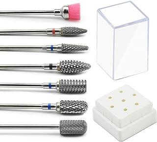 JEWHITENY Tungsten Carbide Nail Drill Bits Set 7Pcs Remove Acrylic Nail Polish Manicure Machine Accessories Electric Nail Files Nail Tools 3/32