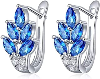 UPRIMOR Highly Polished Platinium or Gold Plated AAA CZ Synthetic gemstone Leaf Hinged Hoop Earrings for Women and Girls, Marquise and Round Cut Stones