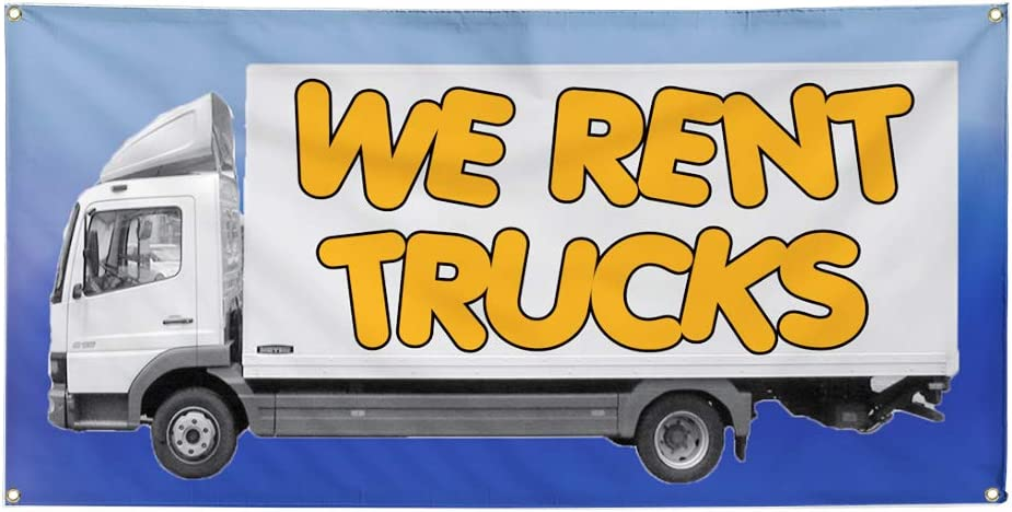 Vinyl Banner Multiple Sizes We Rent Trucks Advertising Printing C Business Outdoor Weatherproof Industrial Yard Signs White 10 Grommets 60x144Inches