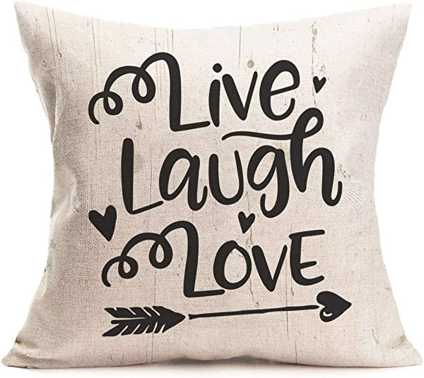 Aremazing Throw Pillow Covers Decorative Live Laugh Love Inspirational Words With Heart Arrow Cushion Cover Pillow Case 18 X 18 Inch Square Cotton Linen Couch Cushion Decor Live Laugh Love Arrow