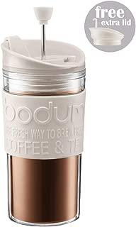 Bodum K11102-913 Travel Press Set Coffee Maker with Extra Lid, 12 oz, White