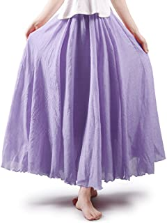 f3b8df00b OCHENTA Women's Bohemian Style Elastic Waist Band Cotton Long Maxi Skirt