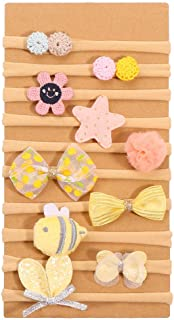 Baby Girl Cute Small Nylon Bow Headband Set Hair Bands Bows Hair Accessories for Baby Girls Infant Toddlers,10 Pcs