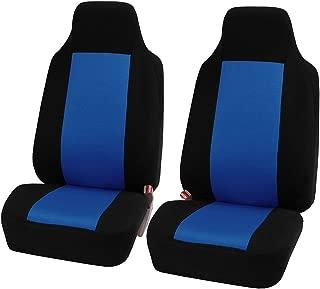 FH-FB102102 Classic Cloth Car Pair Set Seat Covers Blue/Black- Fit Most Car, Truck, SUV, or Van