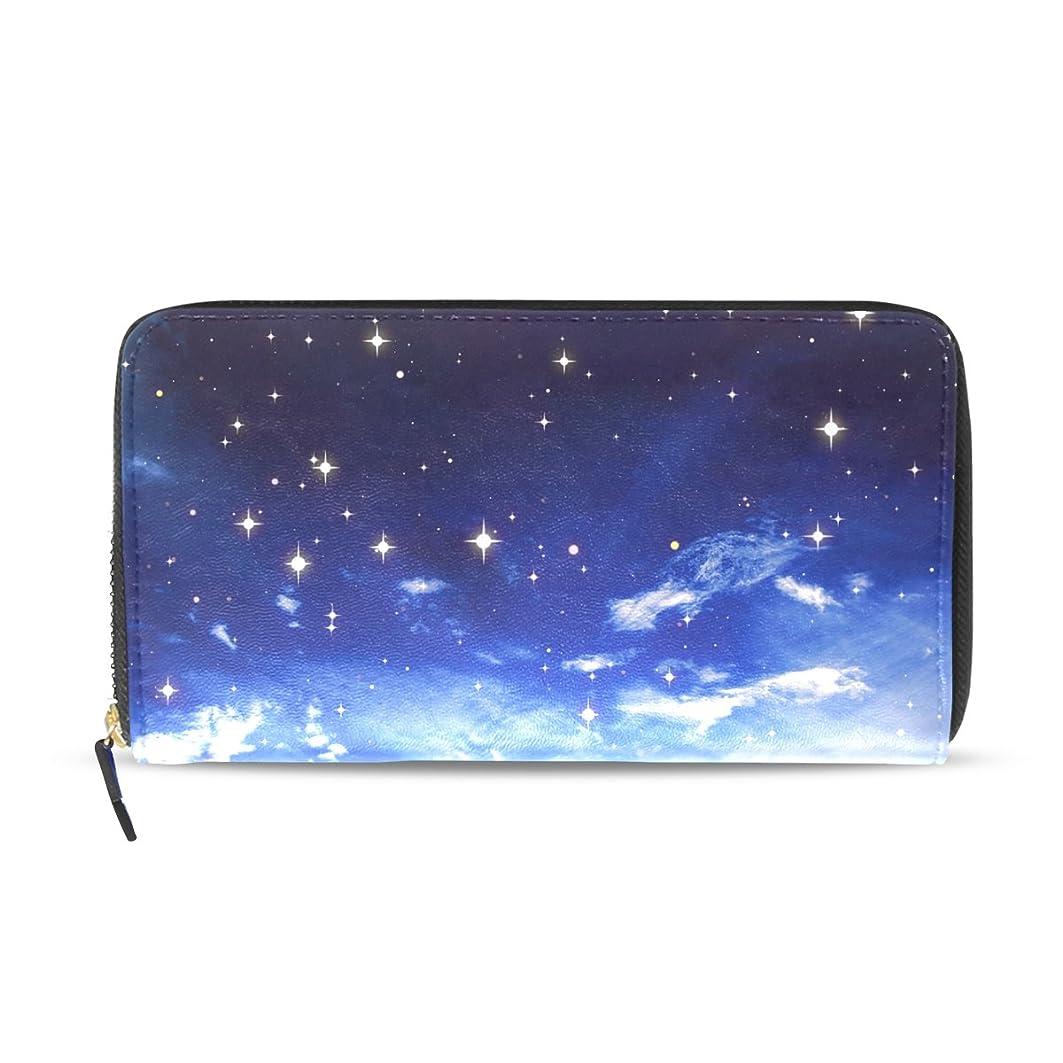 副詞推進力ハンカチAOMOKI 財布 レディース 長財布 大容量 星空 夜 ラウンドファスナー PUレザー 二つ折り 幅20*丈11cm