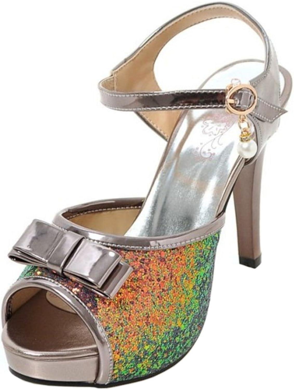 RizaBina Women Fashion Stiletto Glitter Sandals Peep Toe with Bowknot