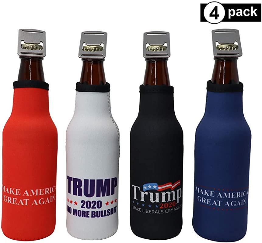 Trump 2020 Beer Bottle Insulator MAGA Political Swag Cooler Sleeve With Zipper And Built In Removable Bottle Opener Trump 4 Pack