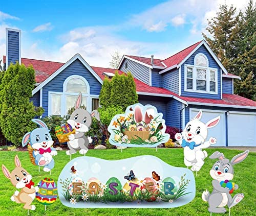 LUCKKYY 8 Pieces Easter Yard Signs Decorations Outdoor Bunny Eggs Yard Stake Signs Easter Lawn product image