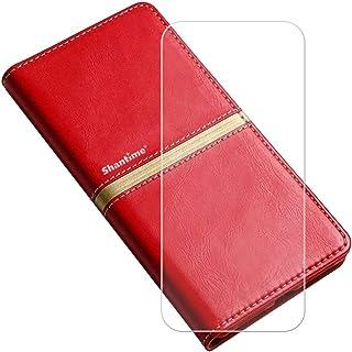 YZKJ Skydd för AGM X2 (5,5 tum) fodral + pansarglas skyddande film flip PU läderfodral mobilfodral plånbok väska med kortp...