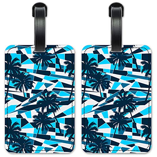Blue Palm Trees - Luggage ID Tags/Suitcase Identification Cards - Set of 2