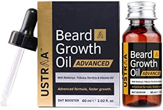USTRAA Beard Growth Oil Advanced - 60ml - Beard Growth Oil for Patchy Beard, With Redensyl and DHT Booster, Nourishment & ...