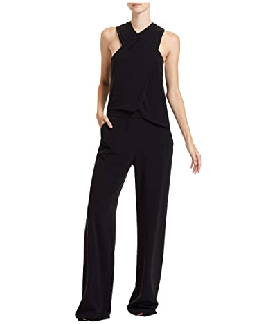 Halston Wrap Neck Jumpsuit (Black) Women