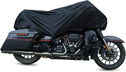 X AUTOHAUX Motorcycle Cover Lightweight Half Cover Outdoor Waterproof Rain Dust UV Protector Black XL for Most Full Dress Touring Cruiser
