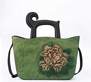 HAIHAI Green/Brown Leather Cherry Bag Casual Litchi top Leather Mini Postman Bag Telephone 13 * 9 * 24(cm) Shoulder Bags (Color : Green)