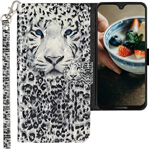CLM-Tech Hülle kompatibel mit Motorola Moto G7 / Moto G7 Plus - Tasche aus Kunstleder - Klapphülle mit Ständer & Kartenfächern, Leopard schwarz weiß