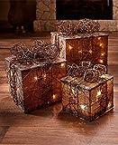 GetSet2Save LLC Lighted Gift Box Decor (Natural) (1)