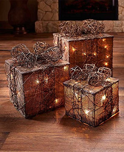 Lighted Gift Box Burlap