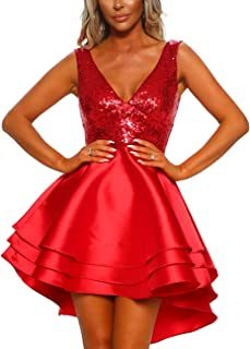 SEBOWEL Women's Sexy Spaghetti Straps Backless Floral Lace Swing A Line Party Skater Dress