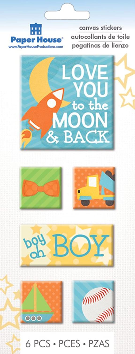 Paper House Productions STCA-0022E Canvas Stickers, Moon and Back (3-Pack)