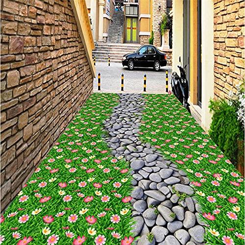 Fondos de pantalla personalizados no tejidos Flores Piedra Árboles Grava Azulejos de piso 3D Pinturas tridimensionales-350 * 245cm