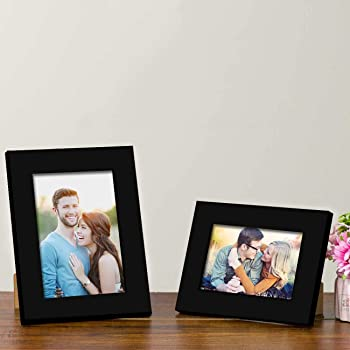 "Art Street Customize Table Photo Frame/Picture Frame for Desk (Photo Size 5""X7"" & 4""X6"") Photo Gift/Love Gift - (Set of 2- Black)"