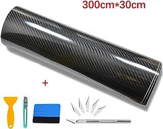 Kaliwa Vinilo Fibra de Carbono, Película Pegatina Decoración Autoadhesiva A Prueba de Agua Libre de Burbuja 300 * 30CM, Uso Exterior Interior para Coche Motocicleta Móvil Ordenador (Negro Plata)