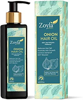 Zoyla Herbal Onion Hair Oil with Redensyl & Saw Palmetto DHT ingredient Mineral Oil & Paraben Free 200 ML
