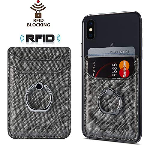 Phone Card Holder with Ring Grip for Back of Phone,Adhesive Stick-on Credit Card Wallet Pocket for iPhone,Android and Smartphones (Metal)