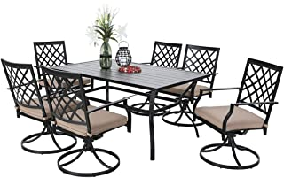 PHI VILLA Outdoor Patio 60 inch Rectangular Dining Table and Bistro Swivel Chairs Set of 7- Metal Black