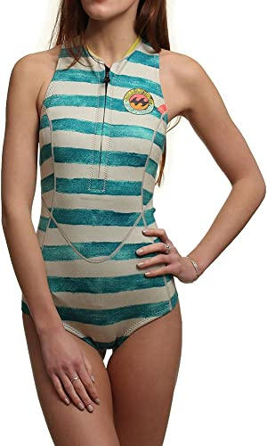 2016 Billabong Ladies 1mm Sleeveless Front Zip Spbague courtey - Maldive Stripe W41G10