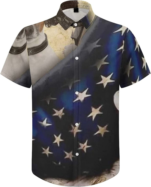 Hawaiian Shirts for Men American Flag Dog Printed Beach Shirt Hawaiian Shirts