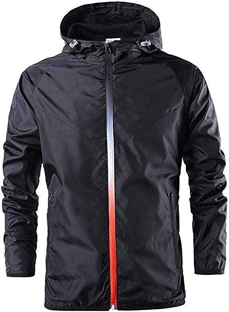 Berrykey Casual Mens Lightweight Rain Jacket Softshell Waterproof Sport Zipper Up Hooded Outdoor Coat