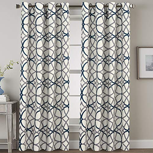 Navy Blackout Curtains 84 Inches Long for Bedroom- All Season Thermal Insulated Grey and Navy Geo Pattern Grommet Top Noise Reducing Curtains / Drapes / Panels for Livingroom, 2 Panels