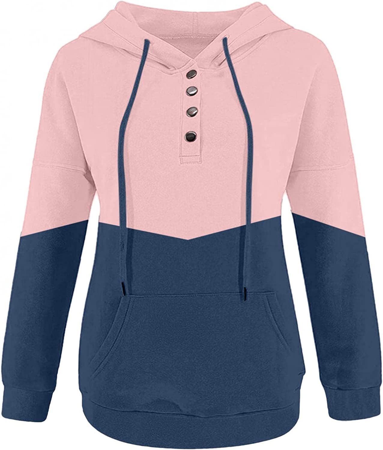 Kaitobe Hoodies for Women Plus Size Button Down Hooded Sweatshirts Splice Casual Long Sleeve Pullover Shirts with Pocket