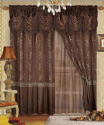 Fancy Collection Embroidery Curtain Set 2 Panel Brown/Coffee with Gold Embroidery Drapes with Backing & Valance Monica New