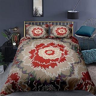 Stillshine. Parure de Lit 2/3 Pièces Couvre-lit Courtepointe Bleu Rouge Fleurs Fleur Prunier Lotus Pivoine Crane Top Rouge...