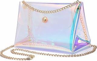 YAIRYANGTZE Mädchen Holografische Transparente Tasche mit Kette
