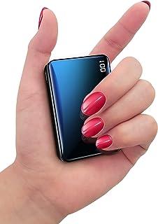 Bscame Powerbank 10 000 mAh, litet och lätt externt batteri mini, extra kompakt, 2 USB-utgångar och LCD-skärm kompatibel m...
