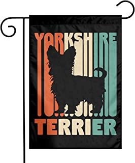 Vintage Yorkshire Terrier Garden Flag Great Party Decor For Celebration,Festival,Home,Outdoor,Garden Decorations 12 X 18 Inch