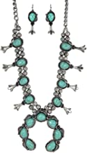 Turquoise Vintage Squash Blossom Metal Statement Necklace/w Earrings No.530