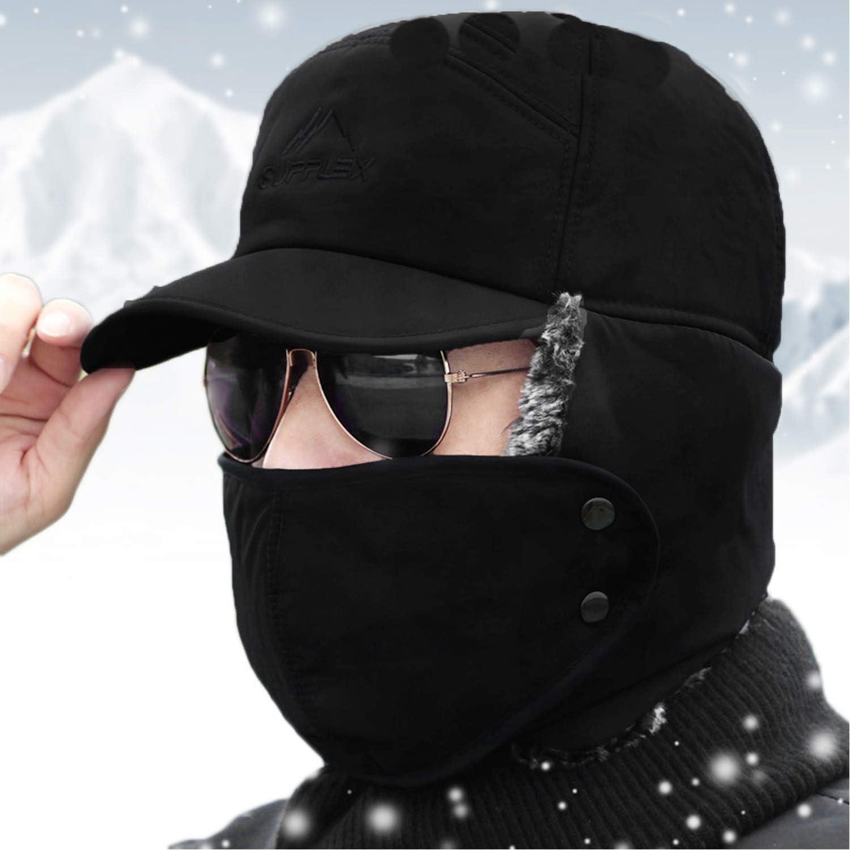 YJZQ Herren Fliegerm/ütze Warme Fellm/ütze Winterm/ütze mit Ohrenklappen Baumwolle Trapperm/ütze Outdoor Winddicht Pilotenm/ütze h/ält warm beim Skifahren Schlittschuhlaufen