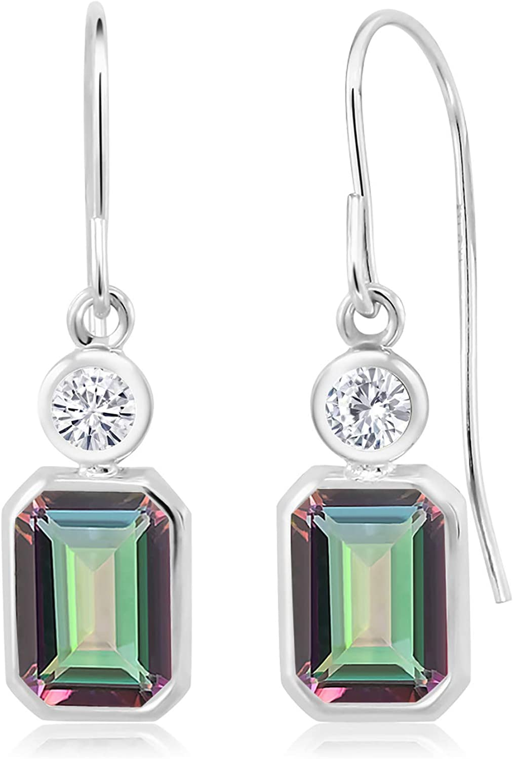 925 Sterling Silver Dangle Large-scale sale Earrings Translated with Octagon Mysti Set Green