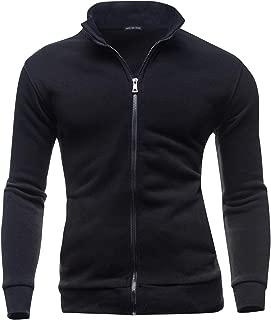 AIEOE Mens Casual Cardigan Warm Slim Fit High Neck Solid Zipper Leisure Jacket
