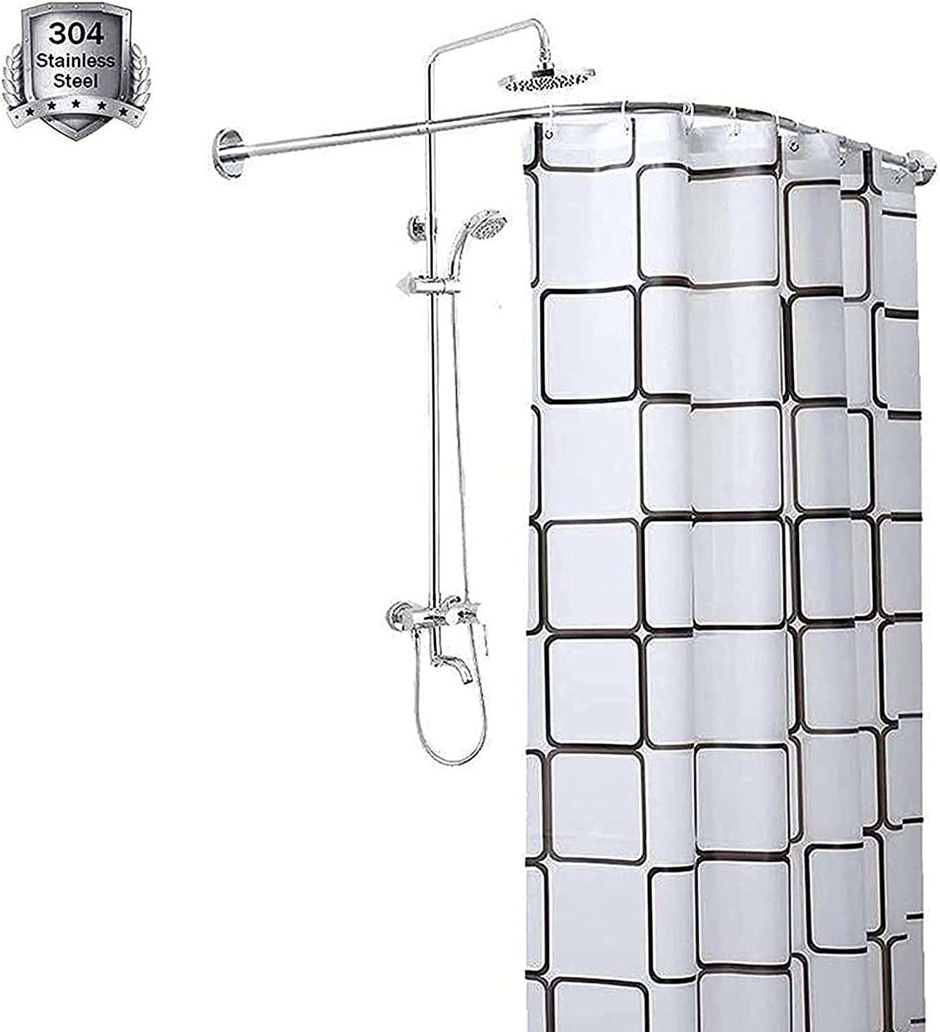 Max 48% OFF Shower Curtain Rod L Shape Telescopic Corner Industry No. 1 Steel Stainless Co