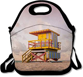 Reusable Lunch Bag for Men Women Rescue Blue America Lifeguard Tower South Beach Miami Parks Atlantic Bay Clouds Insulated Lunch Tote for Travel Office School