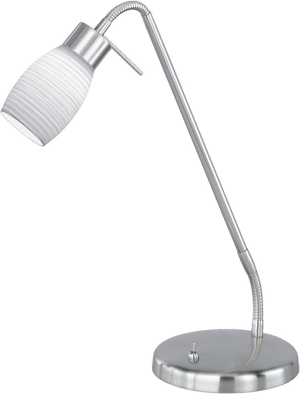Trio Leuchten LED Tischleuchte in Nickel matt, inklusiv 1x5W LED 3100K 350 Lumen , Hhe  60 cm, glas wei gewischt 522010107