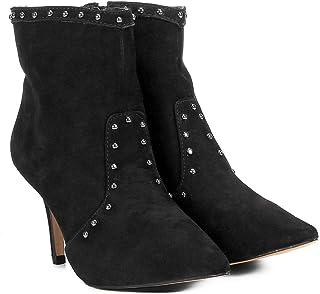 3ce5d3b67 Bota Couro Cano Curto Shoestock Salto Fino Tachas Feminina